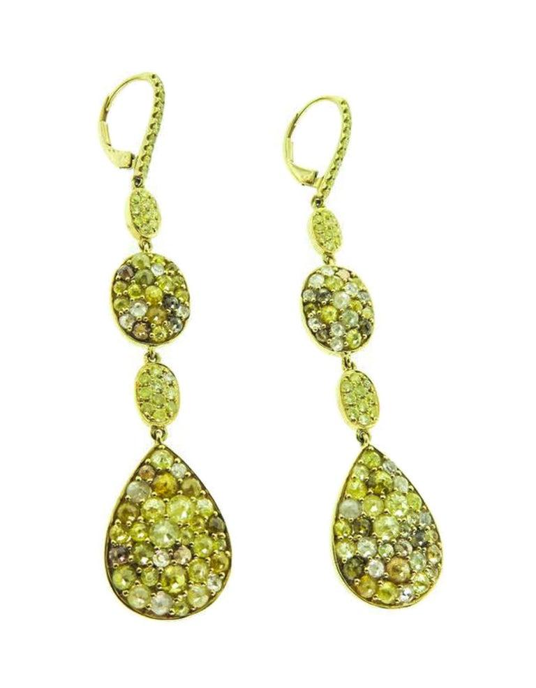 Modern Colored Diamonds Gold Drop Earrings For Sale