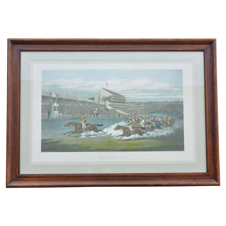 Colored Engraving Horse Race Scene Framed For Sale