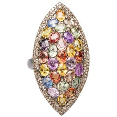 Colored, Faceted Sapphires and Diamond Ring