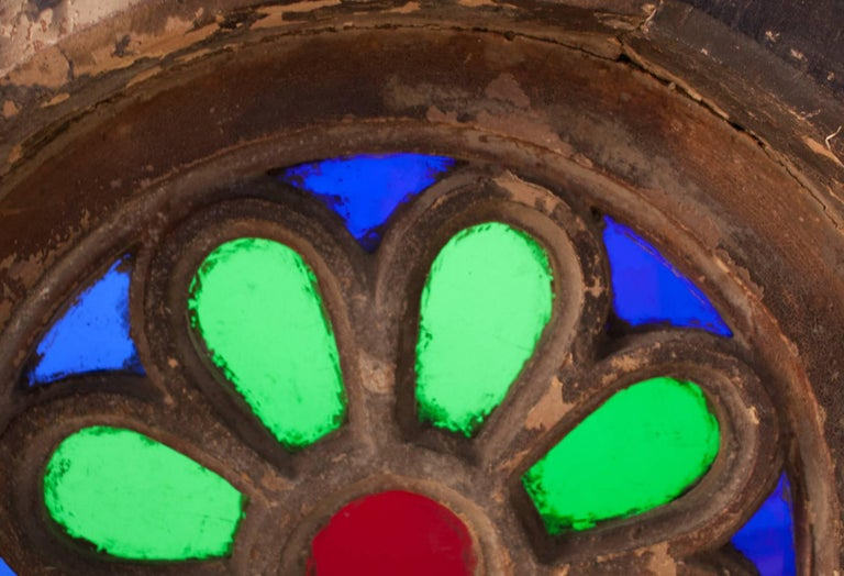 Colored Glass and Teak Wood Window from Portuguese Goa For Sale 2