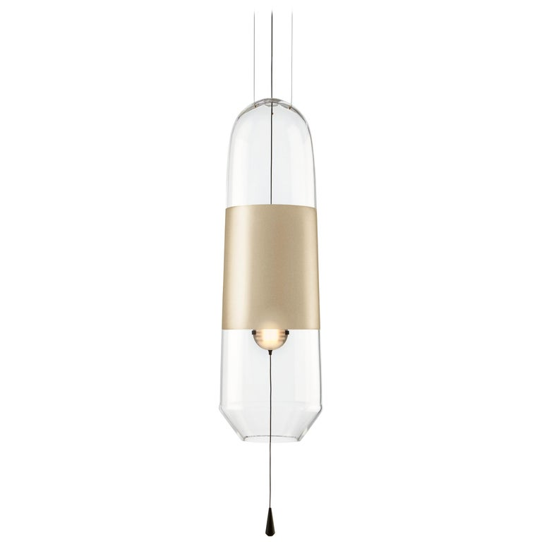 Colored Limpid Light L Pyrite Full-Swing, Pendant Light, Hand Blown Glass For Sale