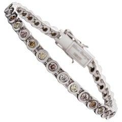 Colored Round Brilliant Cut Diamond Tennis Bracelet in 18 Carat White Gold