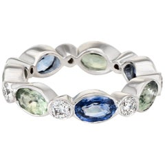 Colored Sapphire Diamond Eternity Ring Vintage 18 Karat White Gold Jewelry