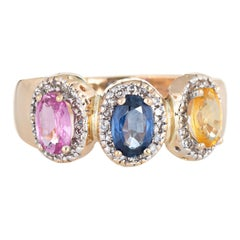 Colored Sapphire Diamond Ring Estate 14 Karat Gold Rainbow Oval Trilogy Vintage
