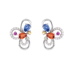 Colored Sapphire Earrings Estate 18 Karat Gold Diamond Flower Cluster Studs