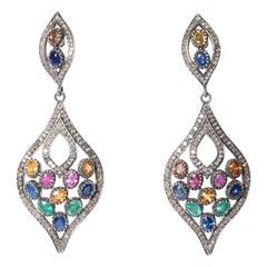 Colored Sapphires and Pavé, Set Diamonds