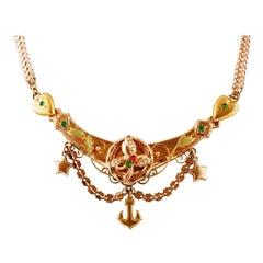 Colored Stones, Little Pearls, 9 Karat Rose Gold Very Old Retrò Necklace