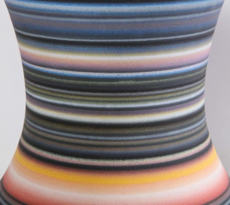 Colored Striped Vessel, Tall In Excellent Condition For Sale In New York, NY
