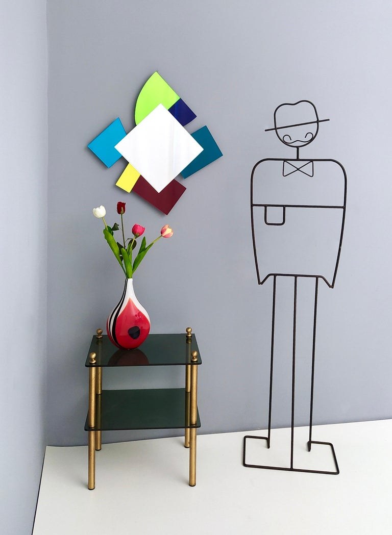 Italian Colored Wall Mirror in the Style of Ettore Sottsass, Italy, 2010s For Sale