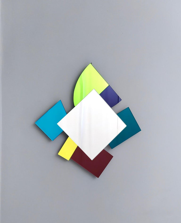 Contemporary Colored Wall Mirror in the Style of Ettore Sottsass, Italy, 2010s For Sale