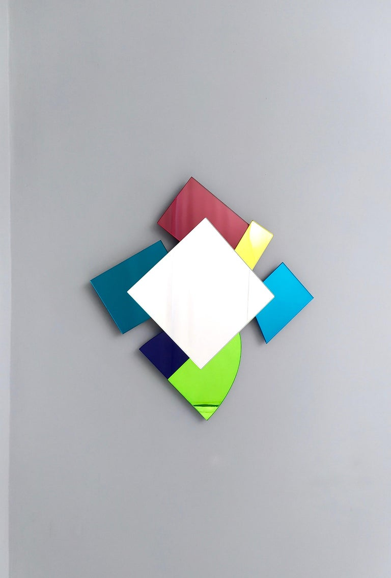 Colored Wall Mirror in the Style of Ettore Sottsass, Italy, 2010s For Sale 1