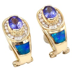 Colorful 14 Karat Yellow Gold Tanzanite, Opal and Diamond Earrings