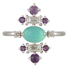 Colorful 18 Karat Gold Ring with Blue Opal, Colorless Diamonds and Amethysts