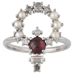 Colorful 18 Karat Gold Ring with Diamonds, Garnets, Pearls