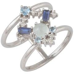 Colorful 18 Karat Gold Ring with Diamonds, Sapphires, Aquamarines