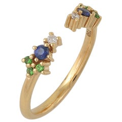 Colorful 18 Karat Gold Ring with Diamonds, Sapphires, Tsavorites