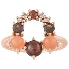 Colorful 18 Karat Gold Ring with Moonstones, Garnets, Diamonds