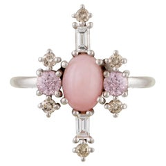 Colorful 18 Karat Gold Ring with Pink Opal, Colorless and Champagne Diamonds