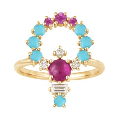 Colorful 18 Karat Gold Ring with Pink Sapphires, Diamonds and Turquoise