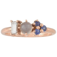 Colorful 18 Karat Gold Ring with Sapphires, Diamond and Gray Moonstone