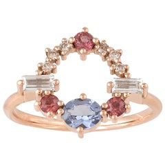 Colorful 18 Karat Gold Ring with Spinel, Garnet, Diamonds