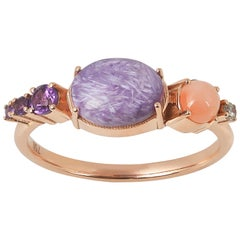 Colorful 18 Karat Rose Gold Ring with Charoite, Coral, Diamond and Amethyst