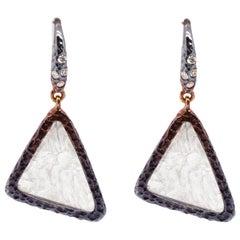 Colorful 18K Gold Effect 3.13 Carat Pattern Rose Cut Diamond Dangle Earring