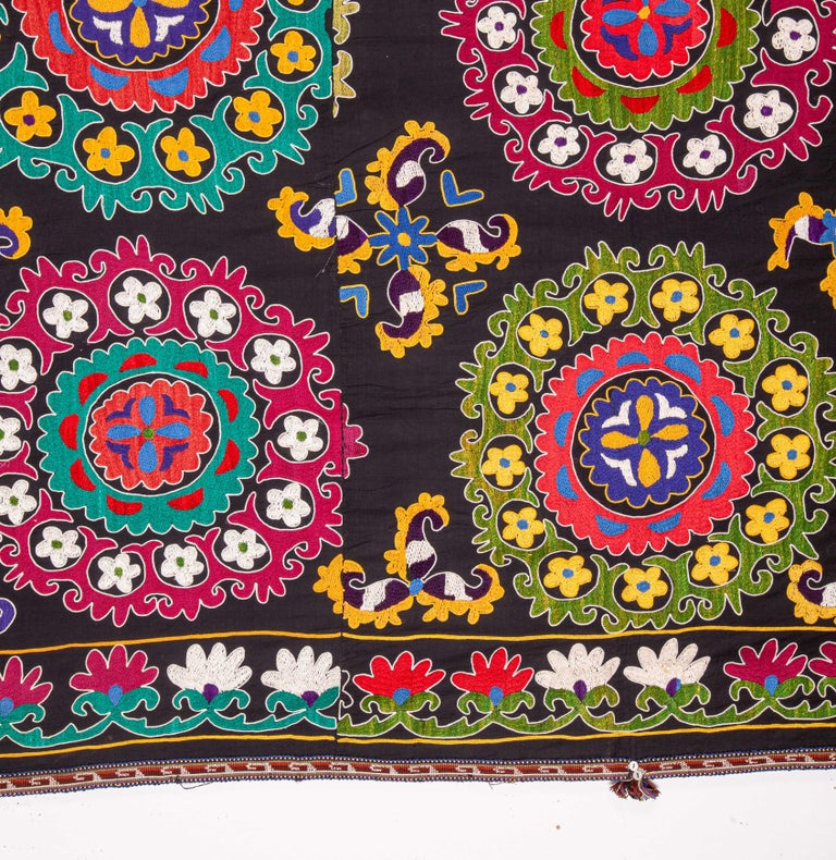Embroidered Colorful 1970s Suzani from Uzbekistan, Central Asia For Sale