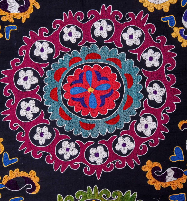 Cotton Colorful 1970s Suzani from Uzbekistan, Central Asia For Sale