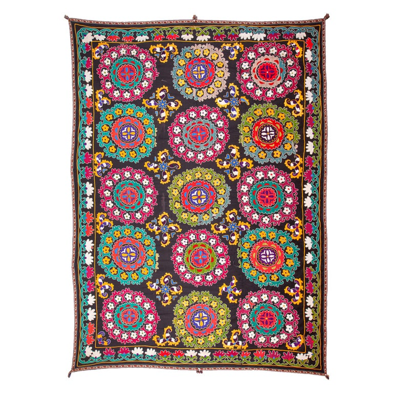 Colorful 1970s Suzani from Uzbekistan, Central Asia For Sale