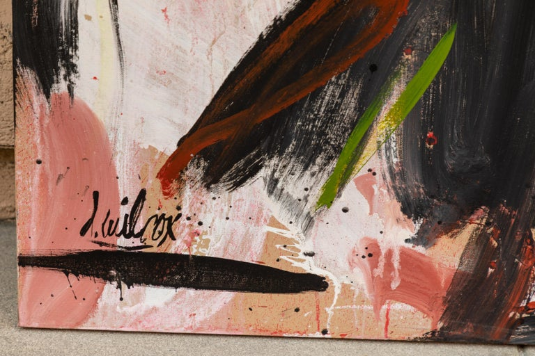 Colorful 1980s Abstract Painting by D. Wilcox In Good Condition For Sale In Pasadena, CA