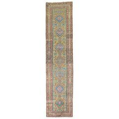 Colorful 20th Century Persian Heriz Tribal Wool Oriental Runner