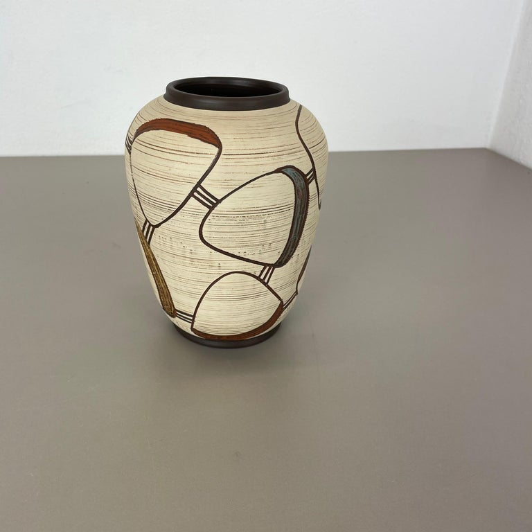 Mid-Century Modern Colorful Abstract Ceramic Pottery Vase by Sawa Franz Schwaderlapp, Germany 1950s For Sale