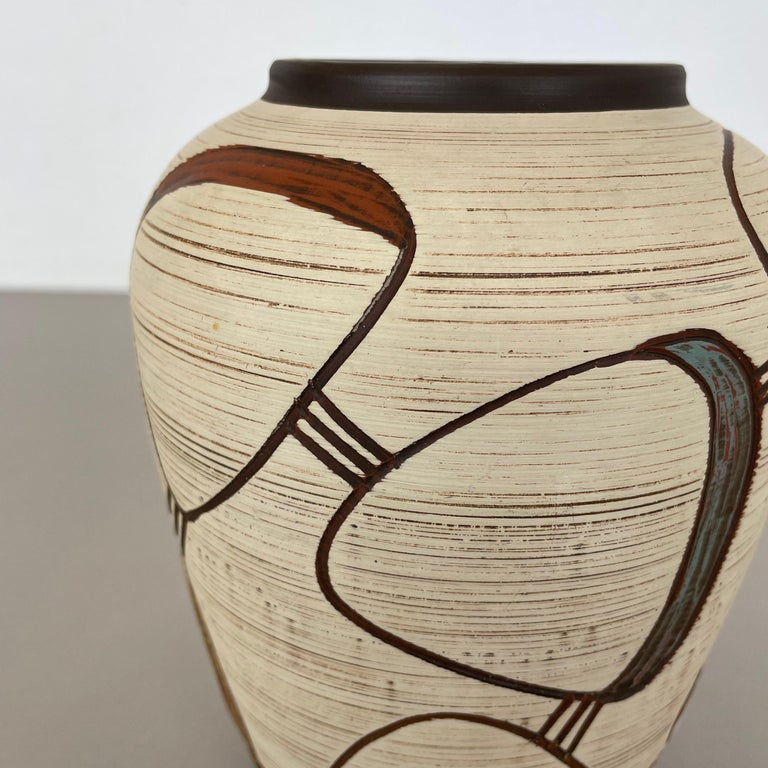 20th Century Colorful Abstract Ceramic Pottery Vase by Sawa Franz Schwaderlapp, Germany 1950s For Sale