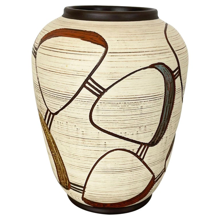 Colorful Abstract Ceramic Pottery Vase by Sawa Franz Schwaderlapp, Germany 1950s For Sale