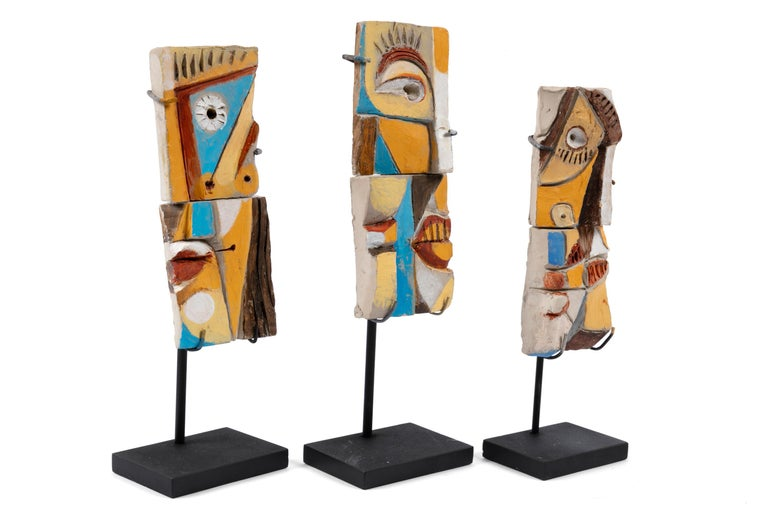Glazed Colorful Abstract Ceramic Sculptures, France, 1990s For Sale