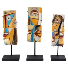 Colorful Abstract Ceramic Sculptures, France, 1990s