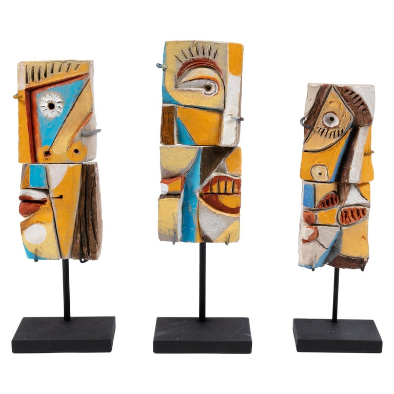 Colorful Abstract Ceramic Sculptures, France, 1990s For Sale