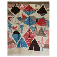 Colorful Abstract Modern Moroccan Rug, All Wool, Custom Options Available