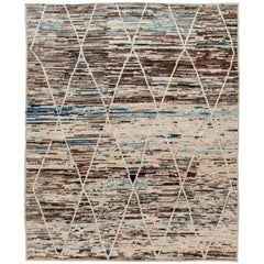 Colorful Abstract Modern Moroccan Style Wool Rug