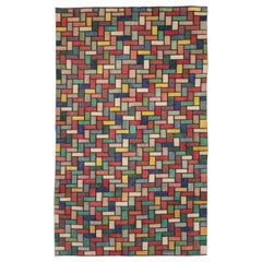 Colorful and Modern Mid-20th Century Handmade Turkish Anatolian Accent Rug