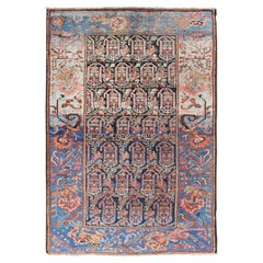 Colorful and Unique Antique Persian Hamedan Rug with All-Over Geometric Design