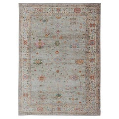 Colorful Angora Turkish Oushak Large Rug with All-Over Design