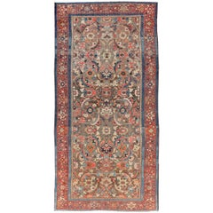 Colorful Antique Fine Persian Malayer Gallery Rug with All-Over Design