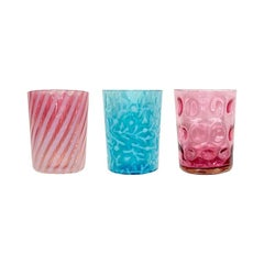 Colorful Antique Hobbs Drinking Glasses in Blue and Pink, Set of 3 1800s