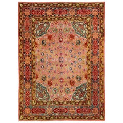Colorful Antique Indian Agra in Pink, Red, Blue, Teal, Acid and Chartreuse Green