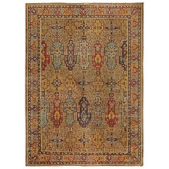 Colorful Antique Indian Handwoven Wool Carpet