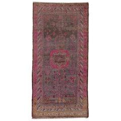 Colorful Antique Khotan Rug, Purple Pink and Orange Tones