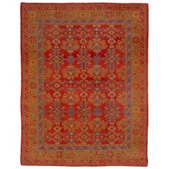 Colorful Antique Oushak Rug, Bright Red Field, Multicolored Borders, circa 1930s