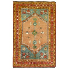 Colorful Antique Oushak Teal Orange Rug, Early 20th Century